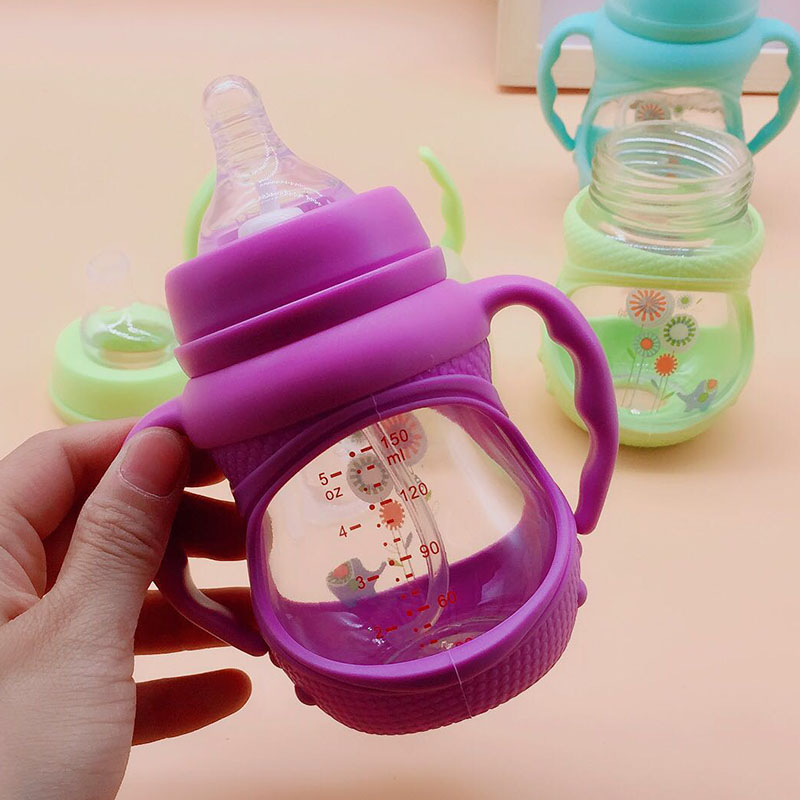 玻璃宽口奶瓶带吸管宝宝鸭嘴杯婴儿学饮杯手柄刻度迷你喝水奶瓶限9000张券