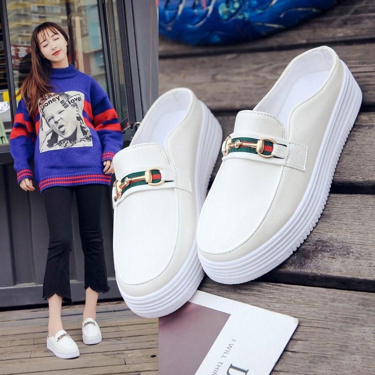 11月20日最新优惠2018新款韩版学院风小白鞋松糕厚底防滑软底女学生包头懒人半拖鞋