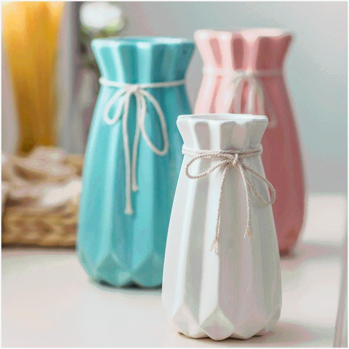 创意时尚小清新落地客厅摆件家居装饰品陶瓷干花花器假花花瓶花艺