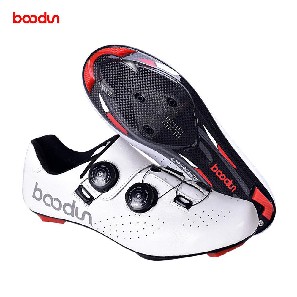 博顿跨境新款真皮款轻便碳纤公路自行车骑行鞋双旋钮防滑耐磨锁鞋