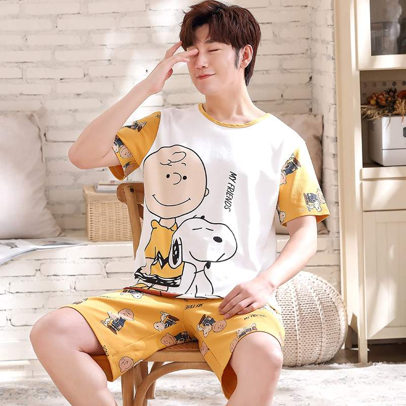 Every day special summer pajamas mens short sleeve cotton sports suit mens Vest cotton home wear plus size