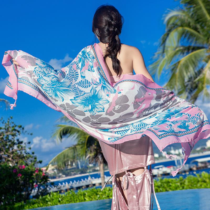 丝巾女夏季海边印花沙滩巾防晒披肩围巾旅游民族风棉麻长款纱巾薄