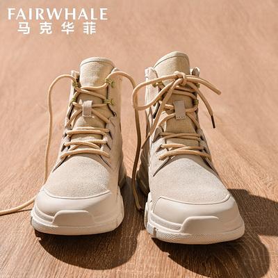 马克华菲马丁靴男冬季高帮英伦风军靴中帮沙漠靴子男短靴工装男鞋