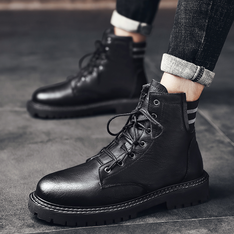 Decaway winter plush cotton inner height shoes for men 8cm Martin boots leather boots leather outdoor work wear mens Boots