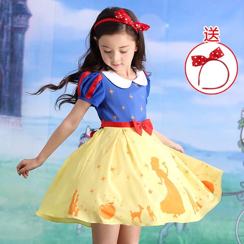 2019年新款童装小女孩夏装女童连衣裙迪士尼白雪公主裙子演出服热销10件五折促销