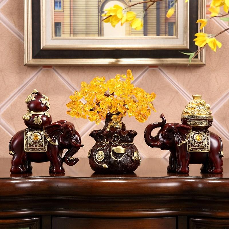 大象摆件一对办公室家居摆设乔迁新居礼品客厅玄关酒柜装饰品开业
