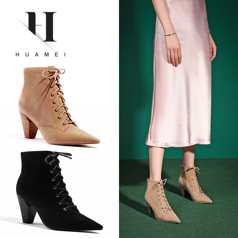 Charm of spring and autumn 2019 new bandage high heel short tube boots pointed thick with Martin boots little girl