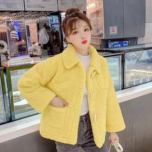 2019冬季新款颗粒毛绒时尚修身纯色百搭短款小个子气质大衣外套女