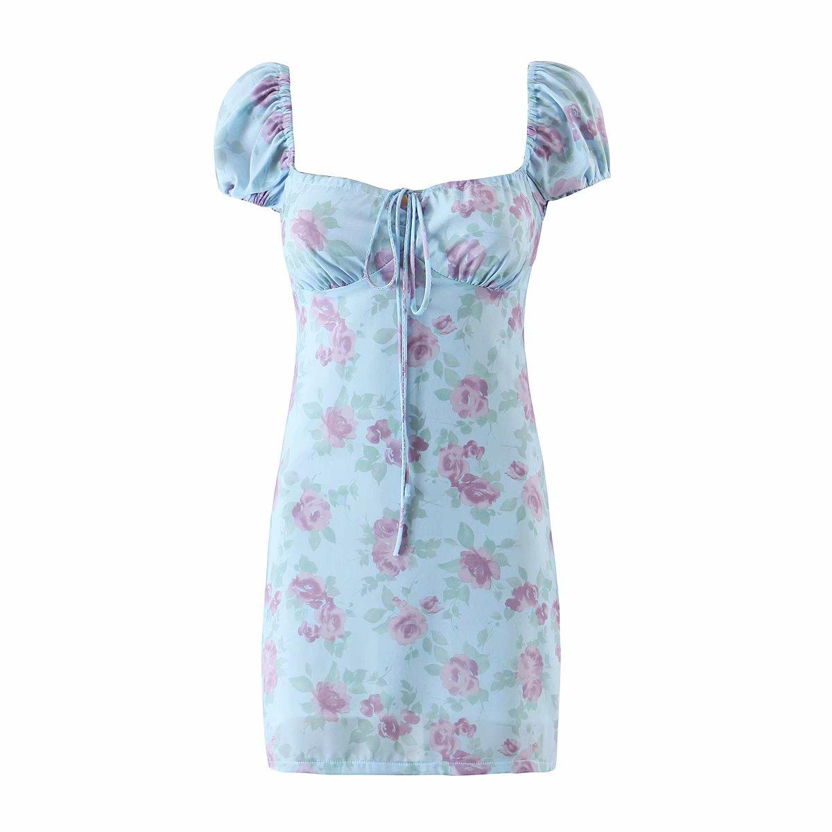 夏季蓝色碎花胸前系带抽绳短袖方领裹胸连衣裙i复古茶歇迷你包臀