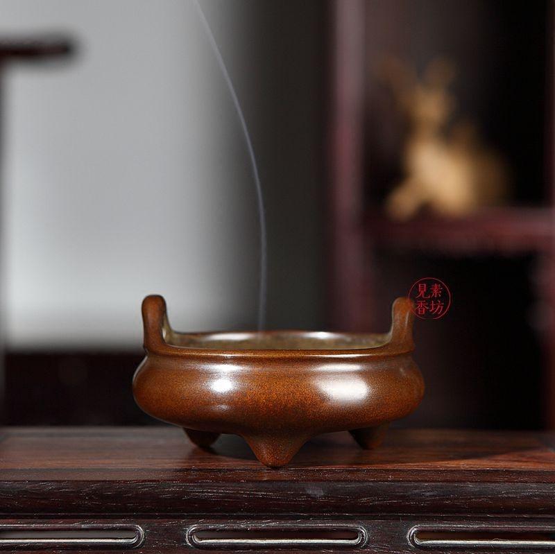 素香坊陳奇生天を衝く耳三脚乳炉宣徳経典モデルの巧生銅香炉二号B 646-T