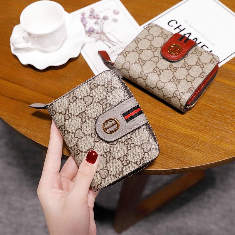 2021新款小钱包女短款折叠钱夹一体多功能简约卡包零钱皮夹时尚