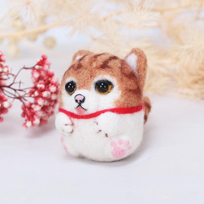 柔软模型扎扎乐厚毛毡小动物自制车饰猪玩偶手工绣橘猫惊喜