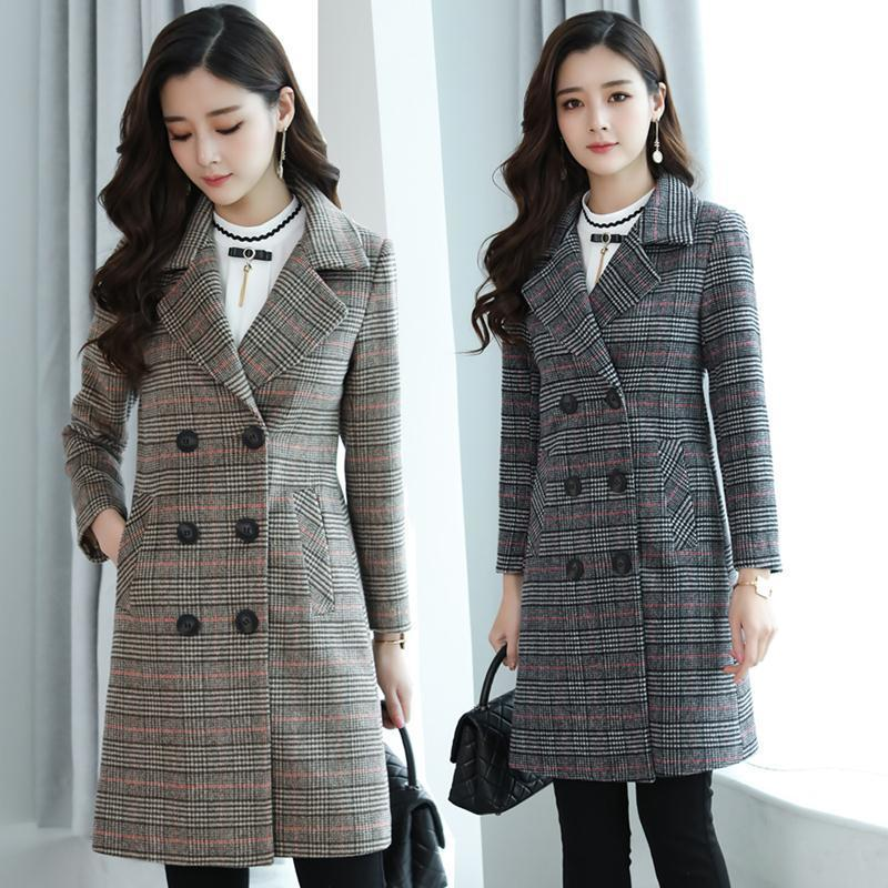 2000 bird checked woolen coat womens middle and long style Korean version new thickened plaid coat in spring and autumn and winter of 2019
