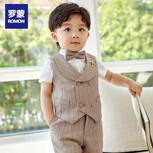 罗蒙男童小西装男宝宝西服套装儿童西装套装三件套花童新款英伦春
