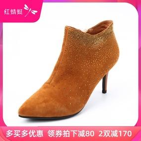 红蜻蜓专柜正品新款尖头水钻女短靴