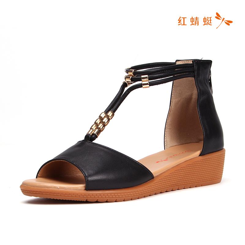 红蜻蜓夏季新款女鞋正品牛皮平底舒适包后跟拉链女凉鞋K86457(用80元券)