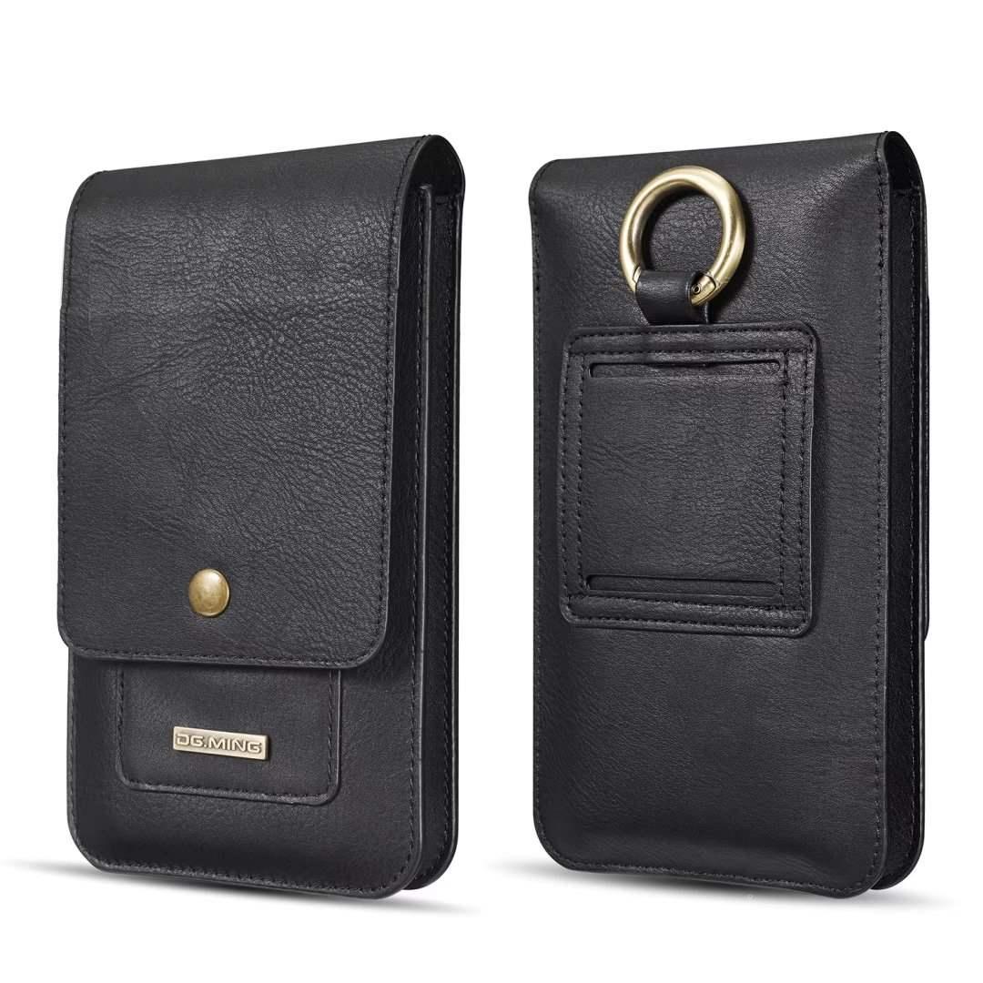 男士皮包腰包多功能斜挎小包皮革穿皮带 6.5寸以下手机包竖款挂包
