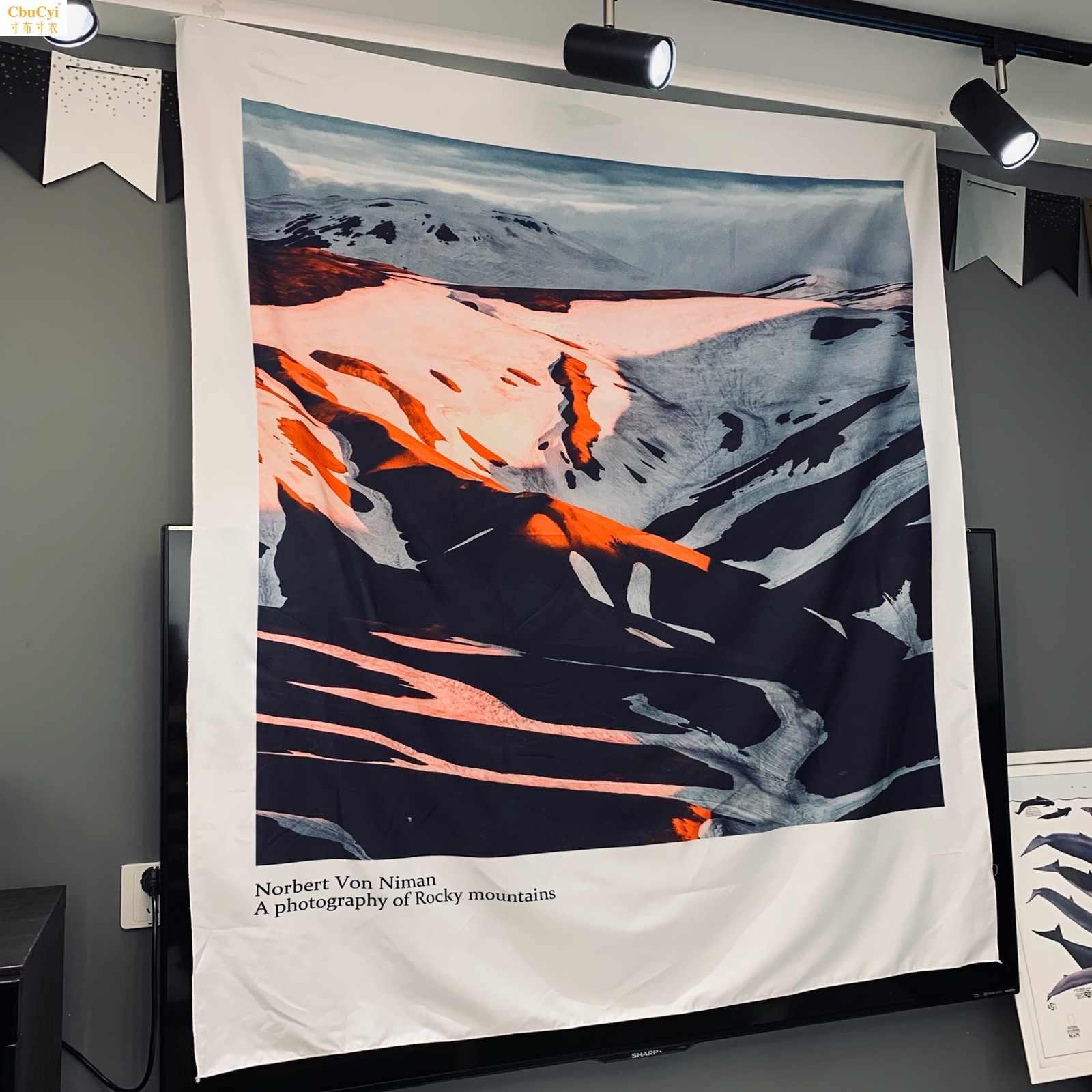 北欧雪山挂布客厅背景ins卧室宿舍布置文艺韩国拍照挂毯落基山