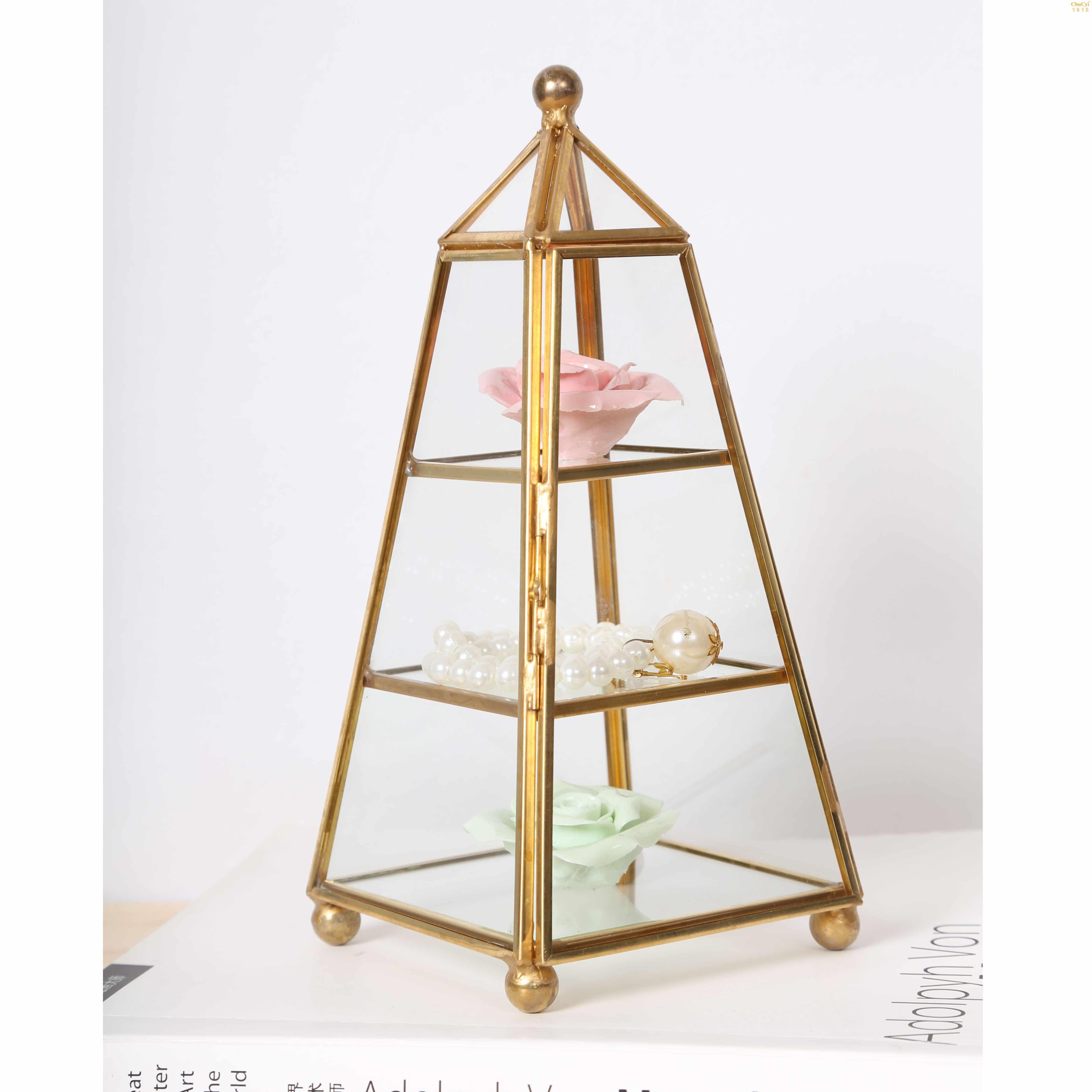 包邮玻璃首饰盒欧式饰品收纳复古首饰珠宝盒手表珠宝展示架道具