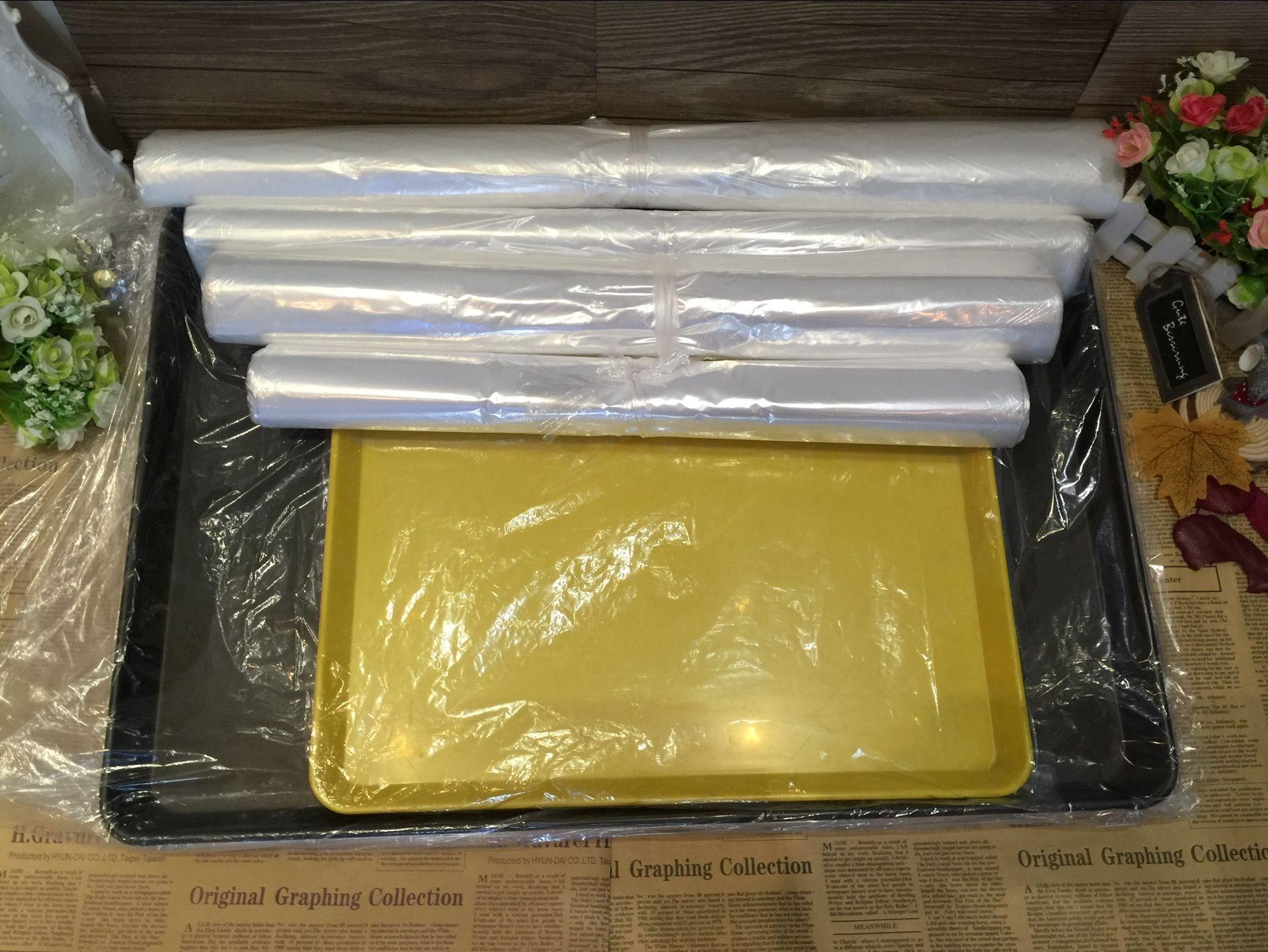 加厚烘焙塑料袋套盘快餐一次厨房套烤盘的透明袋子烧烤胶袋熟食。