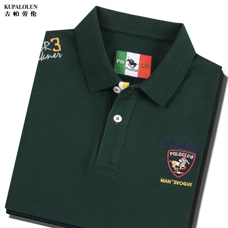 Counter authentic high-end short sleeve Paul T-shirt dark green cotton t-shirt mens Polo embroidery casual clothes summer