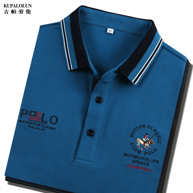 Genuine autumn mens cotton polo shirt embroidered Polo brand long sleeve t-shirt mens Lapel dress solid color