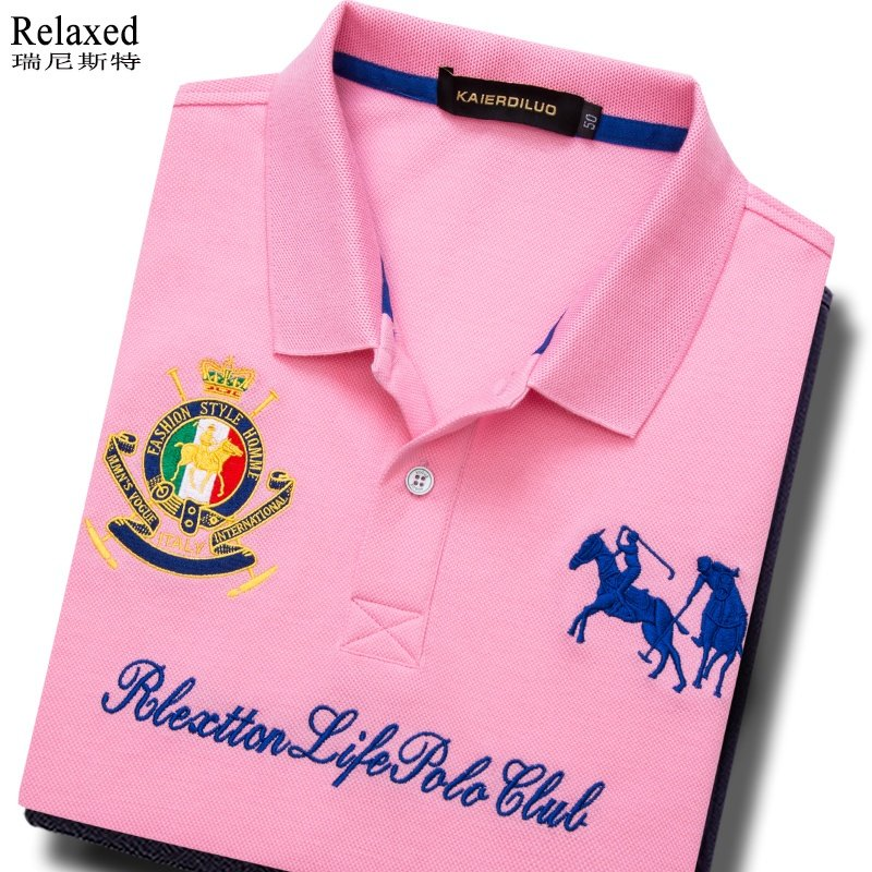 Brand high end mens Cotton Short Sleeve T-Shirt Polo Polo embroidered Paul pink top grade clothes