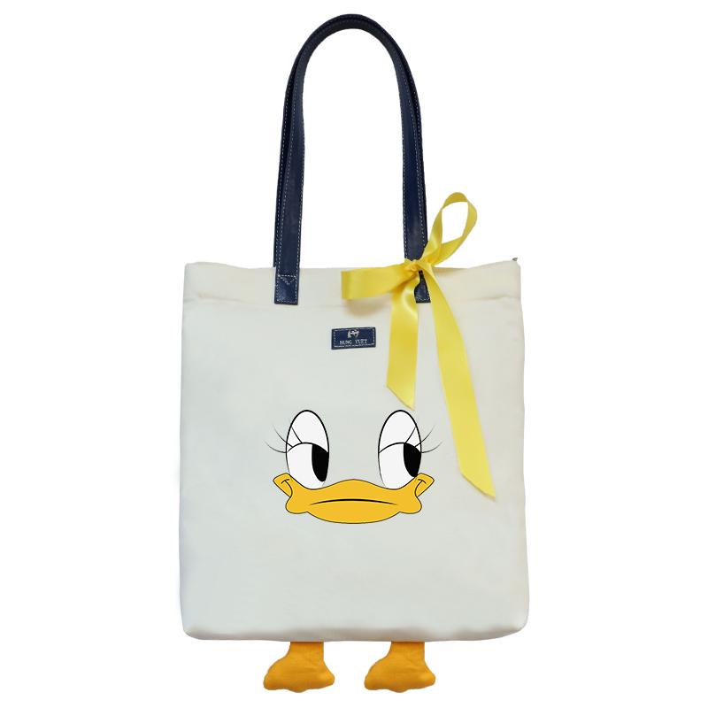 手拎帆布包包2020新款潮ins小黄鸭手提袋子女包大容量单肩包时尚