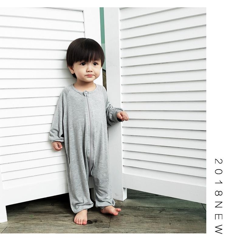宝宝莫代尔男女童连体睡衣夏季婴儿童家居服空调服薄款儿童连身衣