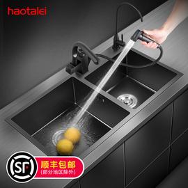 德国洗菜盆水槽双槽304不锈钢黑色纳米洗菜池台下盆厨房 嵌入式