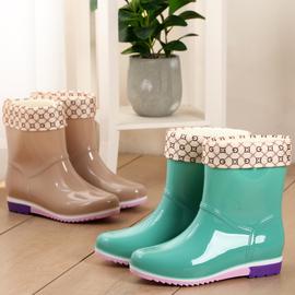 中筒雨鞋女士短筒成人水鞋水靴女雨靴保暖加绒防滑防水牛筋底套鞋