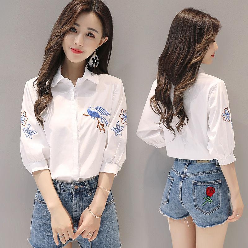 棉绣花衬衫女中袖2019春季新款女装小鸟韩版百搭白衬衣上衣