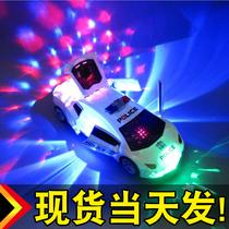 抖音会跳舞旋转万向电动警车变形汽车玩具男女孩儿童灯光音乐玩具