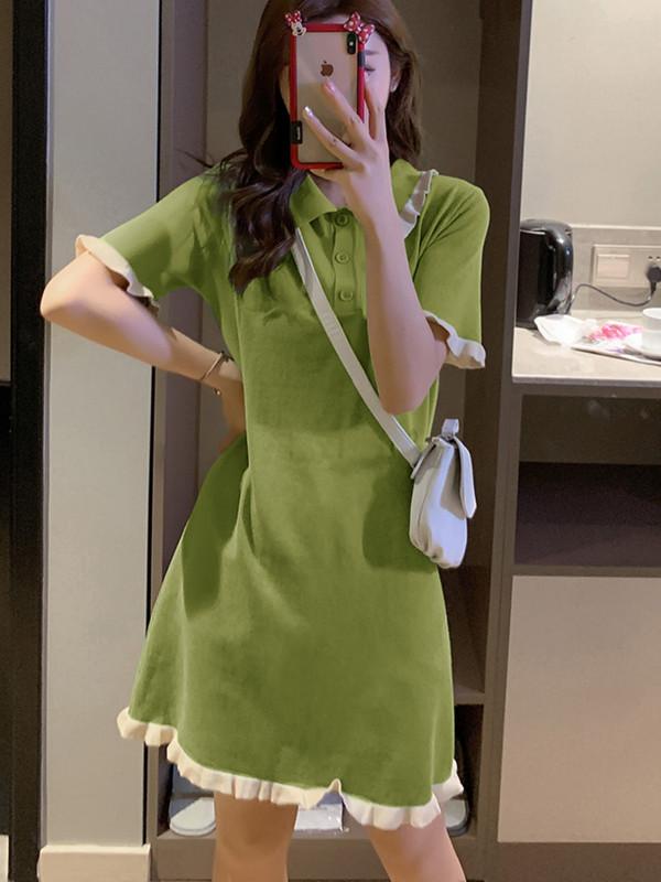 (用5元券)绿色超可爱连衣裙小清新夏超仙裙子仙气小个子轻熟风女装chic港味