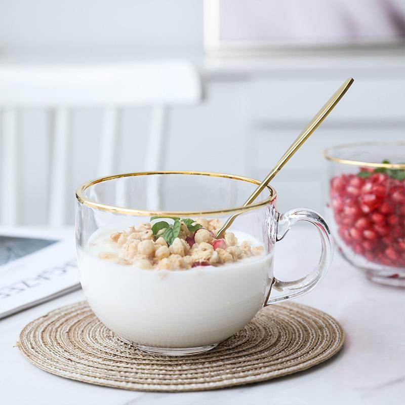 创意金边玻璃杯带把牛奶早餐杯家用大容量水杯茶杯咖啡杯泡麦片杯