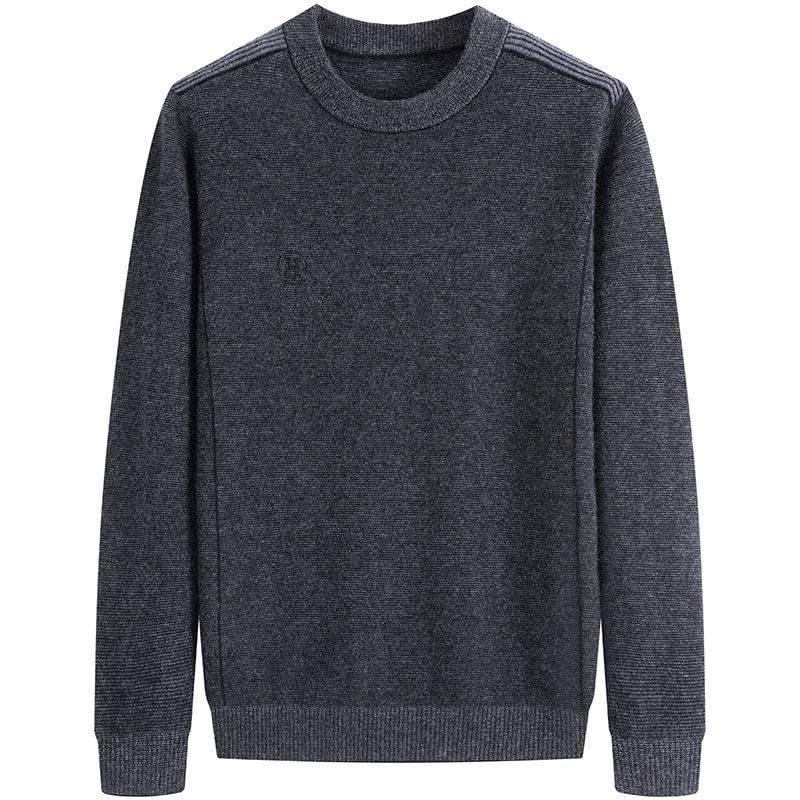High grade genuine oversized mens pure wool sweater fat man plus oversized round neck sweater long sleeve wool sweater