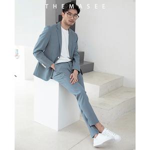 THEMASEE男装气质款雾霾蓝休闲西服套装男帅气修身韩版西装潮英伦