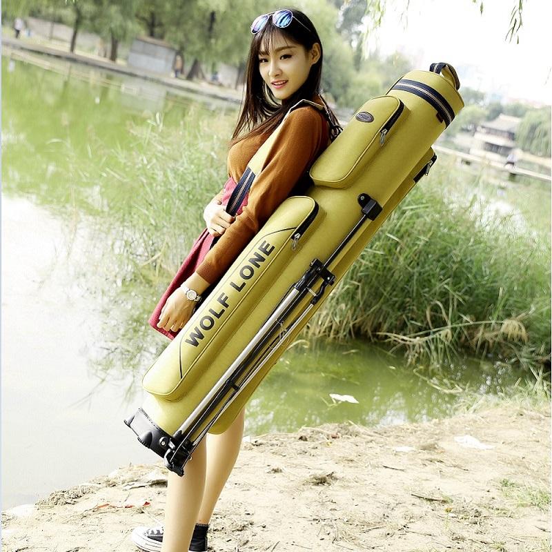 鱼竿包1.25米渔具竿包钓鱼杆包硬壳防水双层多功能大容量鱼具鱼包