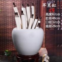 白色陶瓷书画桶卷轴缸字画收纳缸落地字画筒客厅书房工艺品摆件