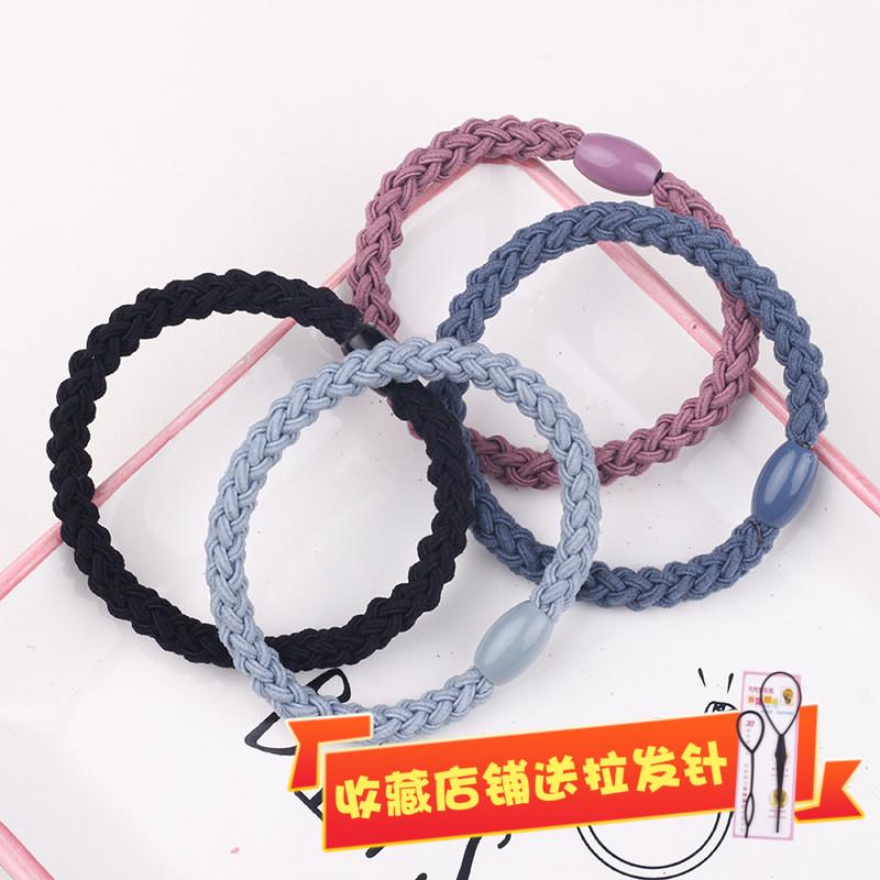 Korean style hair accessories hand knitting knot rope twist braid hair loop high elastic tie hair thick leather band