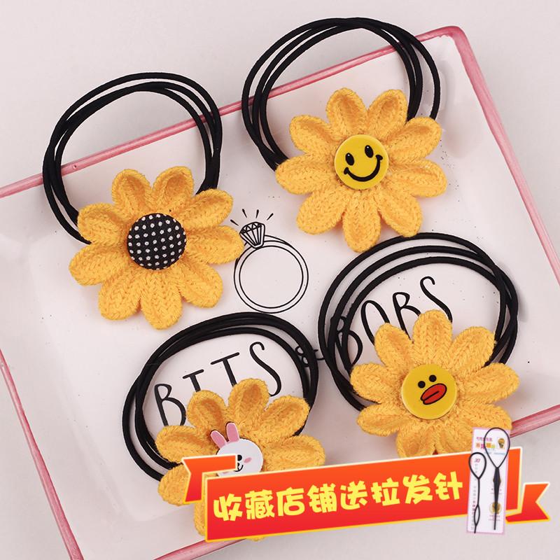 Childrens Sun Flower Hair rope baby does not hurt hair loop girl hair band little girl sunflower hair accessories