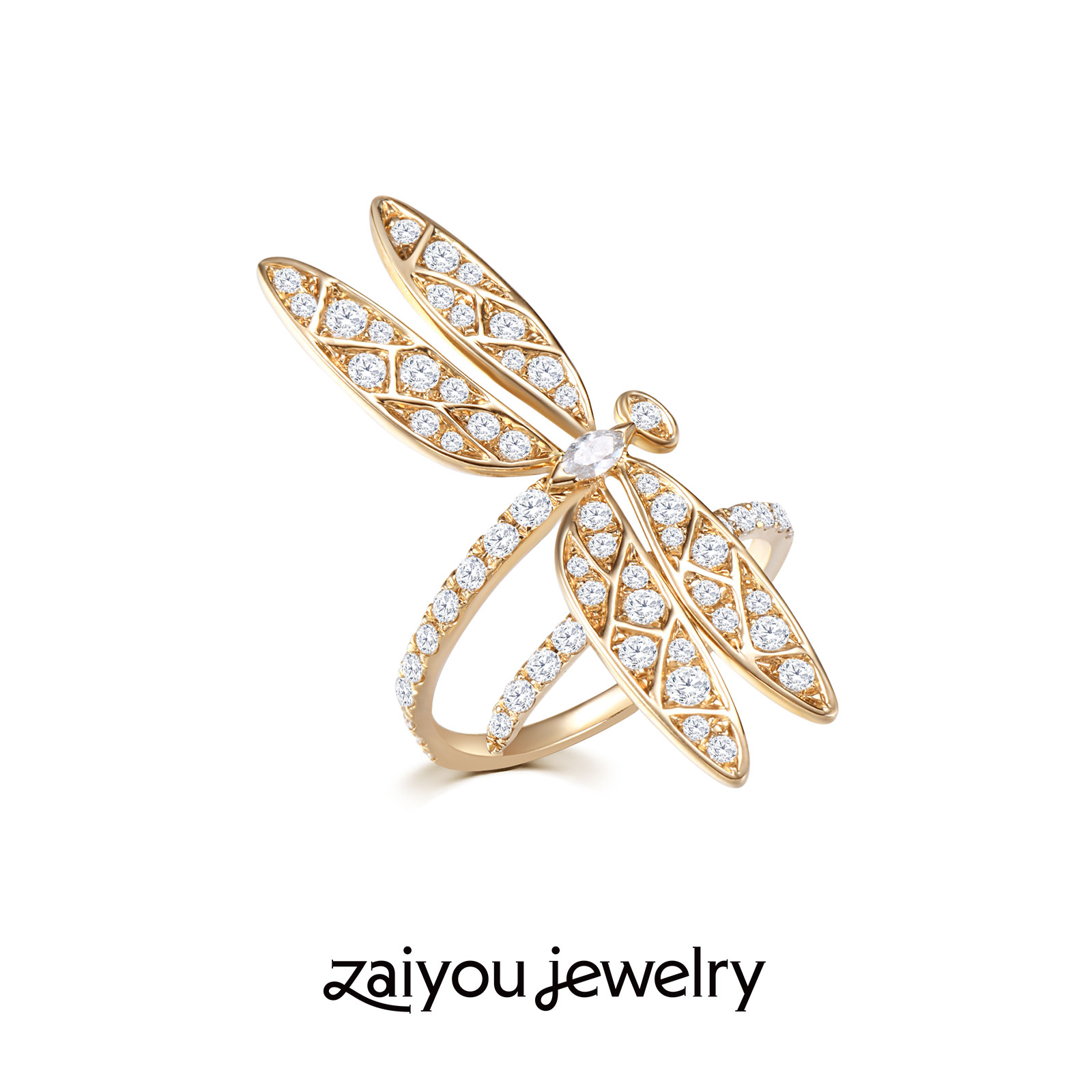[growth of all things] K gold artistic creative artificial diamond jewelry ring of Qile Zaiyu Designer Series