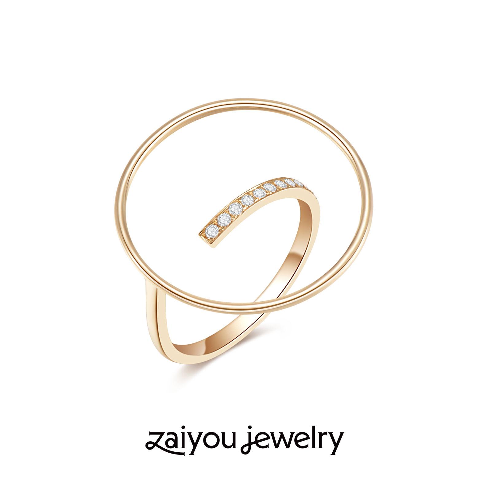 【几何演绎】其乐在宥设计师创意K金手饰人造钻石珠宝戒指