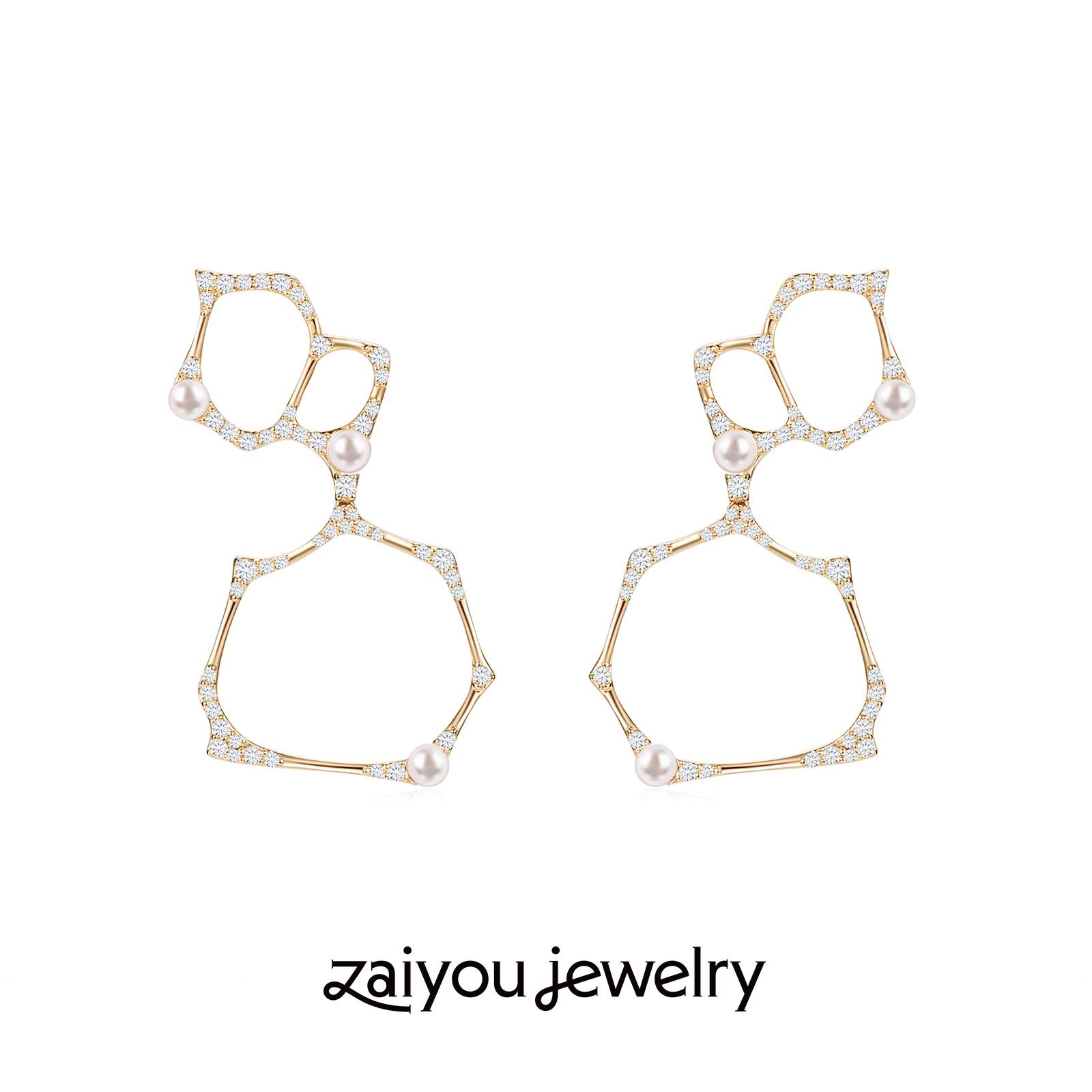 [surface tension] Qi Yue Yus K gold Akoya pearl artificial diamond three bubble Earrings