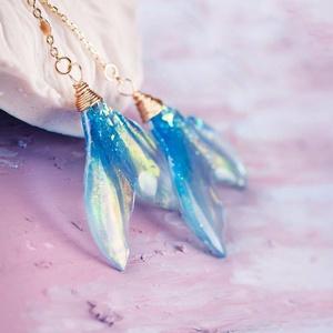 。月光蓝鱼尾超仙梦幻人鱼姬传说幻彩偏光珍珠耳饰不对称耳线耳夹