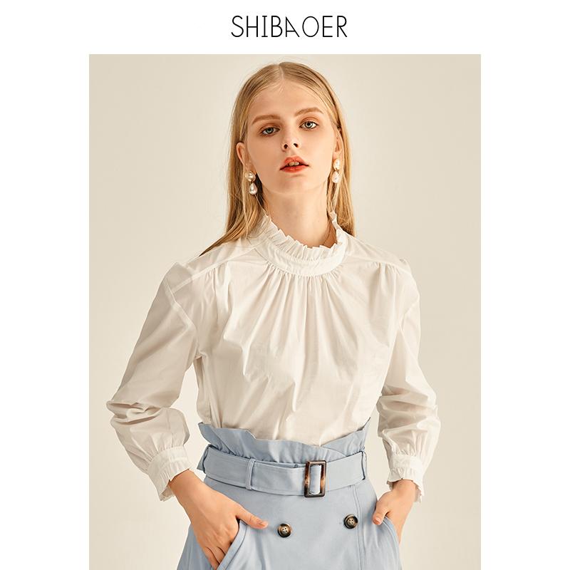 Shibaoer white shirt womens new French lace High Neck Shirt Long Sleeve Shirt women