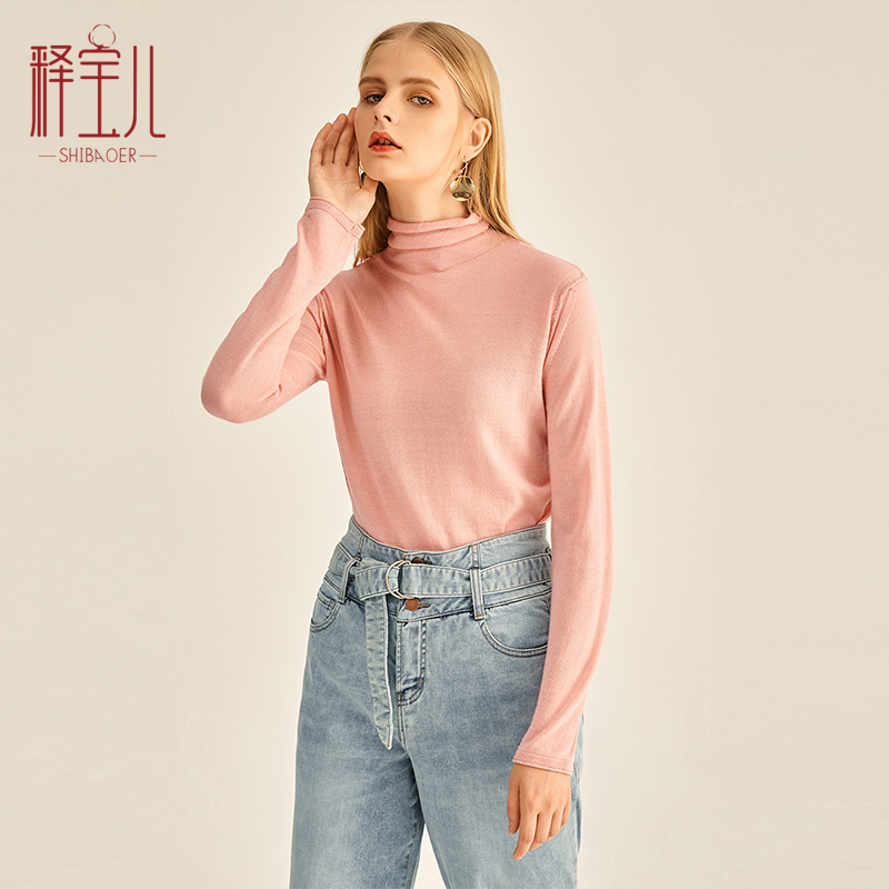 Shibaoer autumn and winter new solid color slim bottomed long sleeve T-shirt womens simple high neck long sleeve Knitted Top