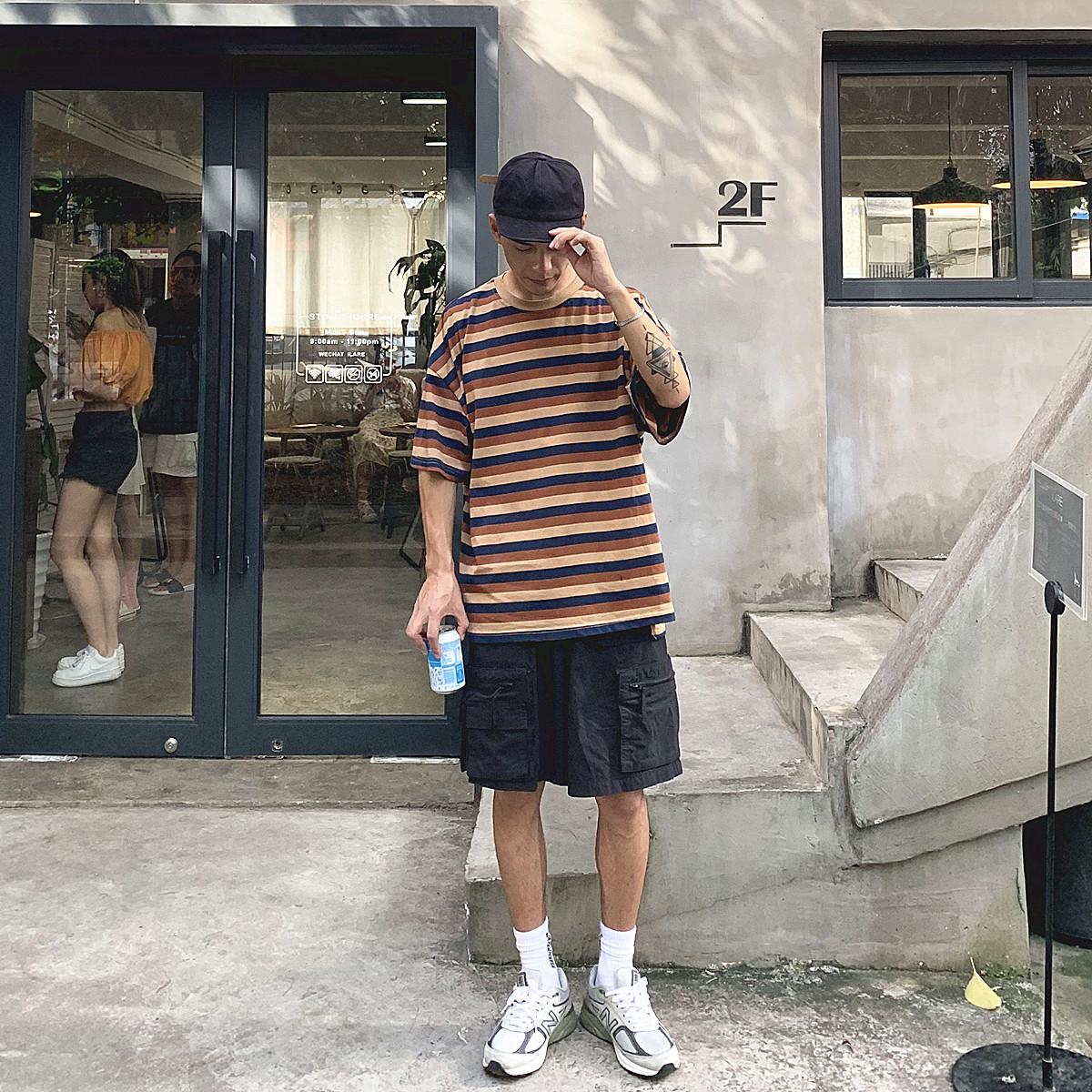 OFFBORD 条纹T恤男宽松港风潮流复古短袖体恤夏季海魂衫百搭半袖热销38件假一赔十