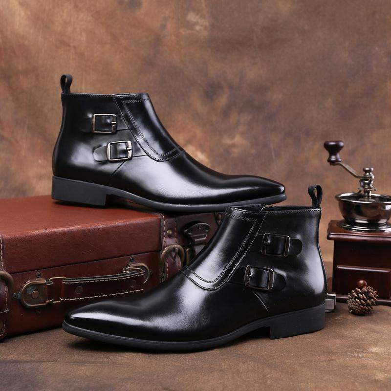 High end brand authentic British Chelsea mens zipper mens short boots high top single leather boots formal leather shoes European plate