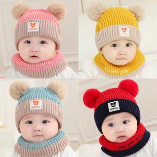婴儿帽子秋冬0-12个月男女宝宝公主毛线帽幼儿保暖可爱围脖1--3岁品牌